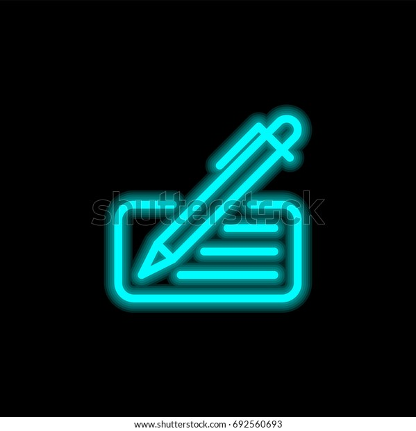 Check blue glowing neon ui ux icon. Glowing sign logo vector