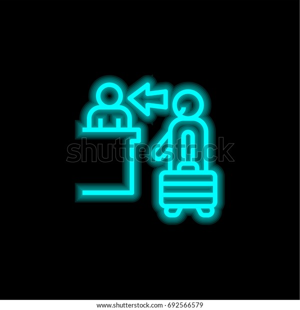 Check in blue glowing neon ui ux icon. Glowing sign logo vector