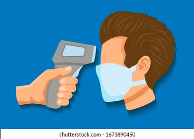 Check of body temperature before entering public area to fight against coronavirus in flat style