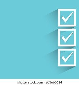 check box, blue background, flat and shadow theme
