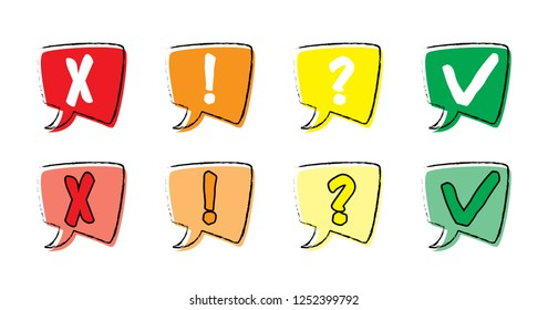 Check box icons icon set Yes of no Alert and cancel Tick and cross Question mark Exclamation point Speech bubble  comic balloons web app incoming inbox message fun funny whatsapp check mark Gadgets