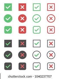 check box icons, tick and cross signs, check mark