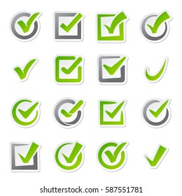 Check box icons of vote mark sign choice yes symbol and correct design right agreement voting form button question choose success graphic vector illustration.