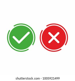Check box list icon, green and red isolated on white background. Vector