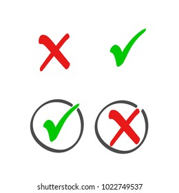 Check box list icons set, color red and green marks isolated on white background. Vector illustration