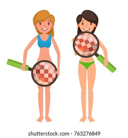 Check Breast And Vaginal Flora Vector. Naked Woman, Magnifying Glass. Censored Skin. Body Female Healthcare Venereal Disease Sex Concept. Woman Check Breast Cancer Isolated Flat Cartoon Illustration