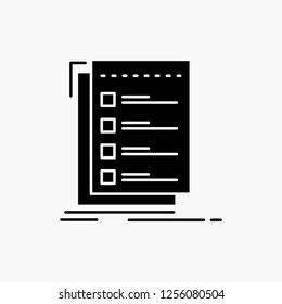 Check, checklist, list, task, to do Glyph Icon. Vector isolated illustration
