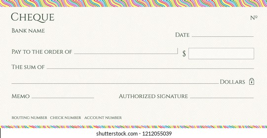 Check, Cheque (blank Chequebook template). Guilloche pattern with abstract colorful line border. Rainbow background for banknote, money design, currency, Voucher, Gift certificate, Money coupon