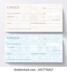 Check, Cheque (Cheque book template). Guilloche pattern with abstract line watermark. Background for banknote, money design, currency, bank note, Voucher, Gift certificate, coupon