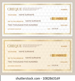 Check (cheque), Chequebook template. Abstract pattern with watermark. White background for banknote, money design, currency, bank note, Voucher, Gift certificate, Coupon, ticket