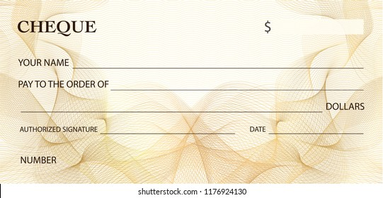 Check (cheque), Chequebook template. Gold lines pattern (Guilloche watermark). Background for ticket, Voucher, Gift certificate, Coupon, banknote, money design, currency, bank note, check (cheque)