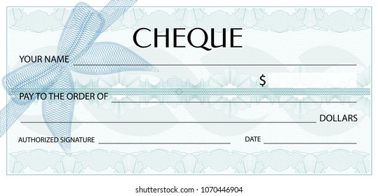 Check (cheque), Chequebook template. Guilloche pattern with watermark, spirograph. Background for banknote, money design,currency, bank note, Voucher,Gift certificate, Coupon, ticket, invoice template