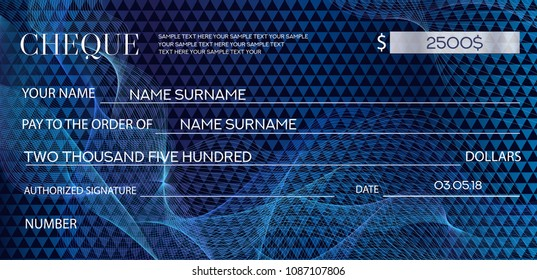 Check (cheque), Chequebook template. Guilloche pattern with abstract watermark. Dark blue background for banknote, money design, currency, bank note, Voucher, Gift certificate, Coupon, ticket