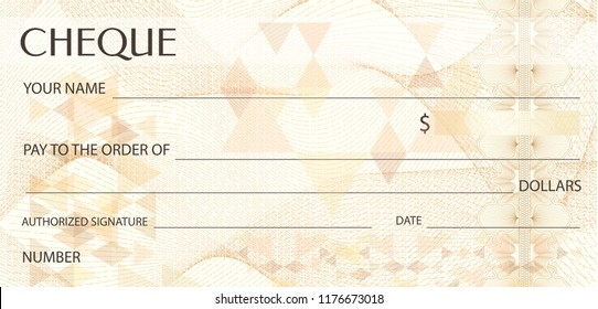Check (cheque), Chequebook template. Guilloche pattern with abstract watermark. Background for banknote, money design, currency, bank note, money, Voucher, Gift certificate, coupon, ticket, visa