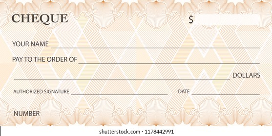 Check (cheque), Chequebook template. Guilloche pattern with abstract watermark. Background for banknote, money design, currency, bank note, Voucher, Gift certificate, Money coupon, ticket