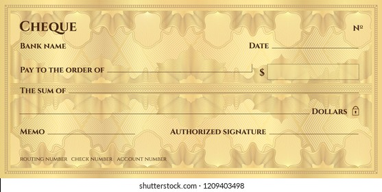 Check, Cheque (Chequebook template). Guilloche pattern with abstract floral watermark, border. Gold background for banknote, money design,currency, bank note, Voucher, Gift certificate, Money coupon