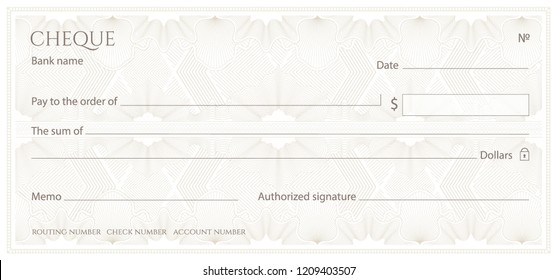 Check, Cheque (Chequebook template). Guilloche pattern with abstract floral watermark, border. White background for banknote, money design,currency, bank note, Voucher, Gift certificate, Money coupon