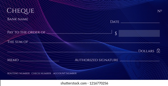 Check, Cheque (Chequebook template). Guilloche pattern with abstract line watermark. Dark blue background  for banknote, money design, currency, bank note, Voucher, Gift certificate, Money coupon