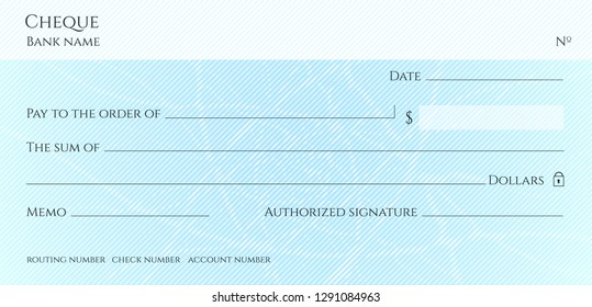 Check, Cheque (Chequebook template). Guilloche pattern with abstract line watermark. Background hi detailed for banknote, money design, currency, bank note, Voucher, Gift certificate, Money coupon