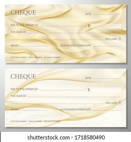 Check, Cheque (Chequebook template). Guilloche pattern with abstract line gold watermark. Golden background for banknote, money design, currency, bank note, Voucher, Gift certificate, coupon