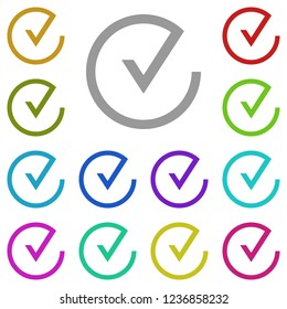 check in circle icon in multi color. Simple glyph vector of web set for UI and UX, website or mobile application