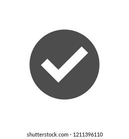 Check, circle, tick icon. Vector illustration, flat design.