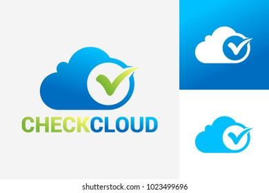 Check Cloud Logo Template Design Vector, Emblem, Design Concept, Creative Symbol, Icon