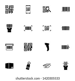 Check Code icon - Expand to any size - Change to any colour. Perfect Flat Vector Contains such Icons as qr code, package, pack, barcode, international bar code, tag, open box, scanner, search, parcel