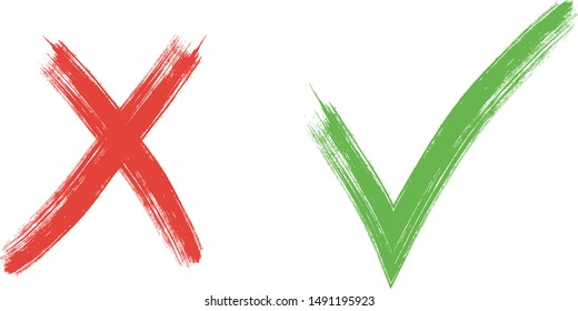 check and Cross sign elements. vector buttons for vote, election choice, tick marks, approval signs design. Red X and green OK symbol icons check boxes. Check list marks, choice options, survey signs.