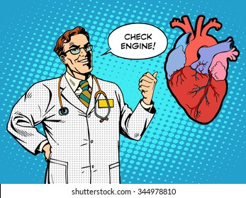 Check engine doctor medicine heart health pop art retro style