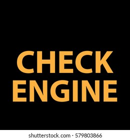 Check engine icon - vector illustration dashboard sign - orange - instrument cluster dtc code error - obd