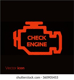 Check engine, red icon isolated on black background