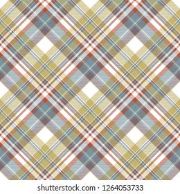 Check fabric texture diagonal seamless pattern. Flat design. Vector illustration.