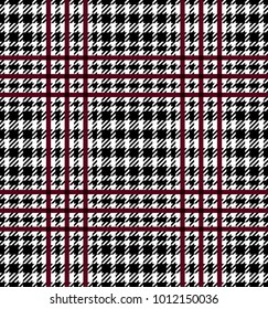 Check fashion tweed burgundy, white and black seamless pattern for fashion textile prints, wallpaper, wrapping, fabric imitation and backgrounds.