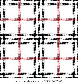 Check fashion tweed white, red and black seamless pattern for fashion textile prints, wallpaper, wrapping, fabric imitation and backgrounds.
