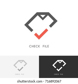 Check file logo - page or document with red checkmark or tick symbol. Business, contract and agreement vector icon.