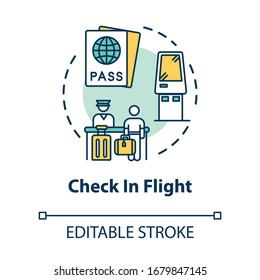 Check in flight concept icon. Passengers passport control and boarding idea thin line illustration. Airport terminal security check. Vector isolated outline RGB color drawing. Editable stroke