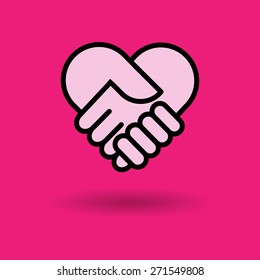 check hand heart icon great for any use. Vector EPS10.