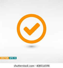 Check icon vector eps 10. Orange Check icon with shadow on a gray background.