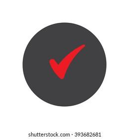 Check  icon, vector illustration. Flat design style