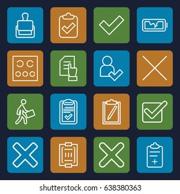 Check icons set. set of 16 check outline icons such as stamp, pointing on document, courier, clipboard, medical clipboard, blood pressure measure, eye test, cancel, cross