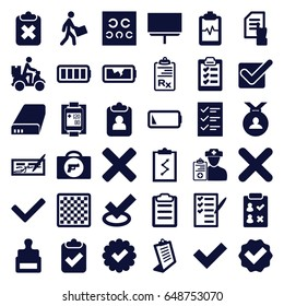 Check icons set. set of 36 check filled icons such as briefcase with weapon, stamp, medal, pointing on document, clipboard, board, heartbeat clipboard, check list, courier