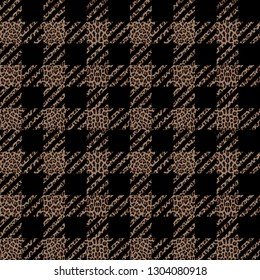 Check and leopard fashion seamless pattern. Trendy background with vichy and animal repeat print for fashion textile prints, wallpaper, wrapping, fabric imitation.