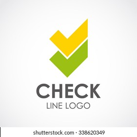 Check line button abstract vector and logo design or template right business icon of company identity symbol concept