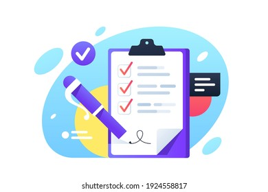 Check list with check boxes and pen signed. Isolated concept tablet using business manager system for business documents. Vector illustration.