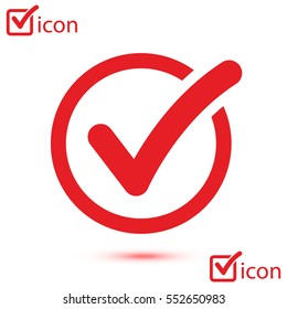 Check list button icon. Check mark in round sign.
