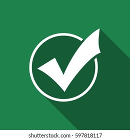 Check list button icon. Check mark in round sign flat icon with long shadow. Vector Illustration