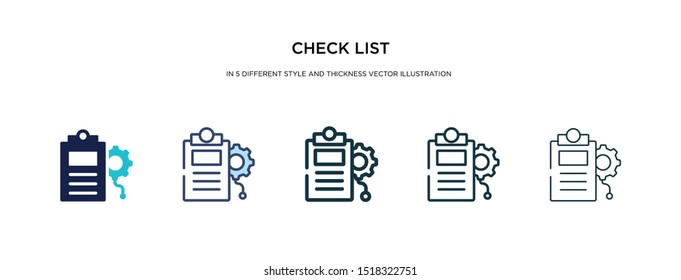 check list icon in different style and thickness vector illustration. two colored and black check list vector icons in filled, outline, line, stroke style can be used for web, mobile, ui