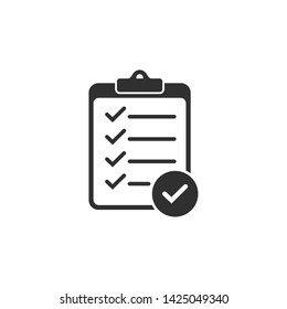 Check list icon vector illustration. One of set web icons. document with check mark symbol. chek mark logo design inspiration