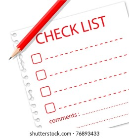 Check list with pencil on note paper